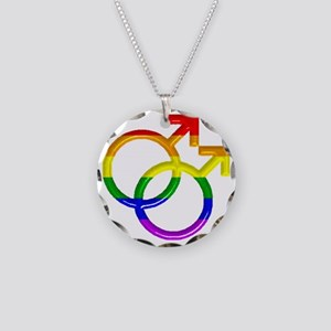 gay Male Symbol Necklace Circle Charm